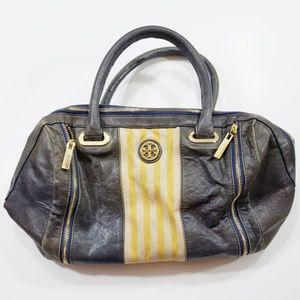 Tory Burch Boston Satchel Bag Distressed Gray